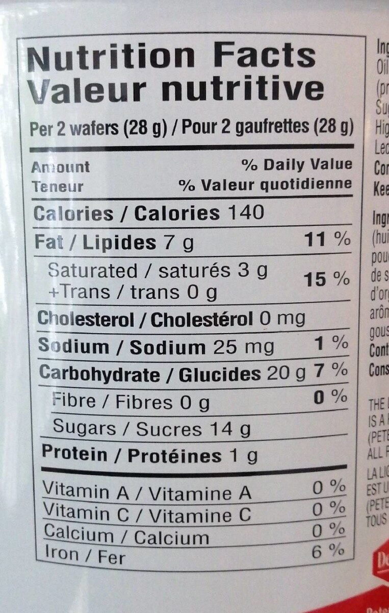 Pirouline chocolate hazelnut filled rolled wafers - Nutrition facts - en