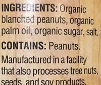 Peanut butter, organic, smooth - Ingrédients