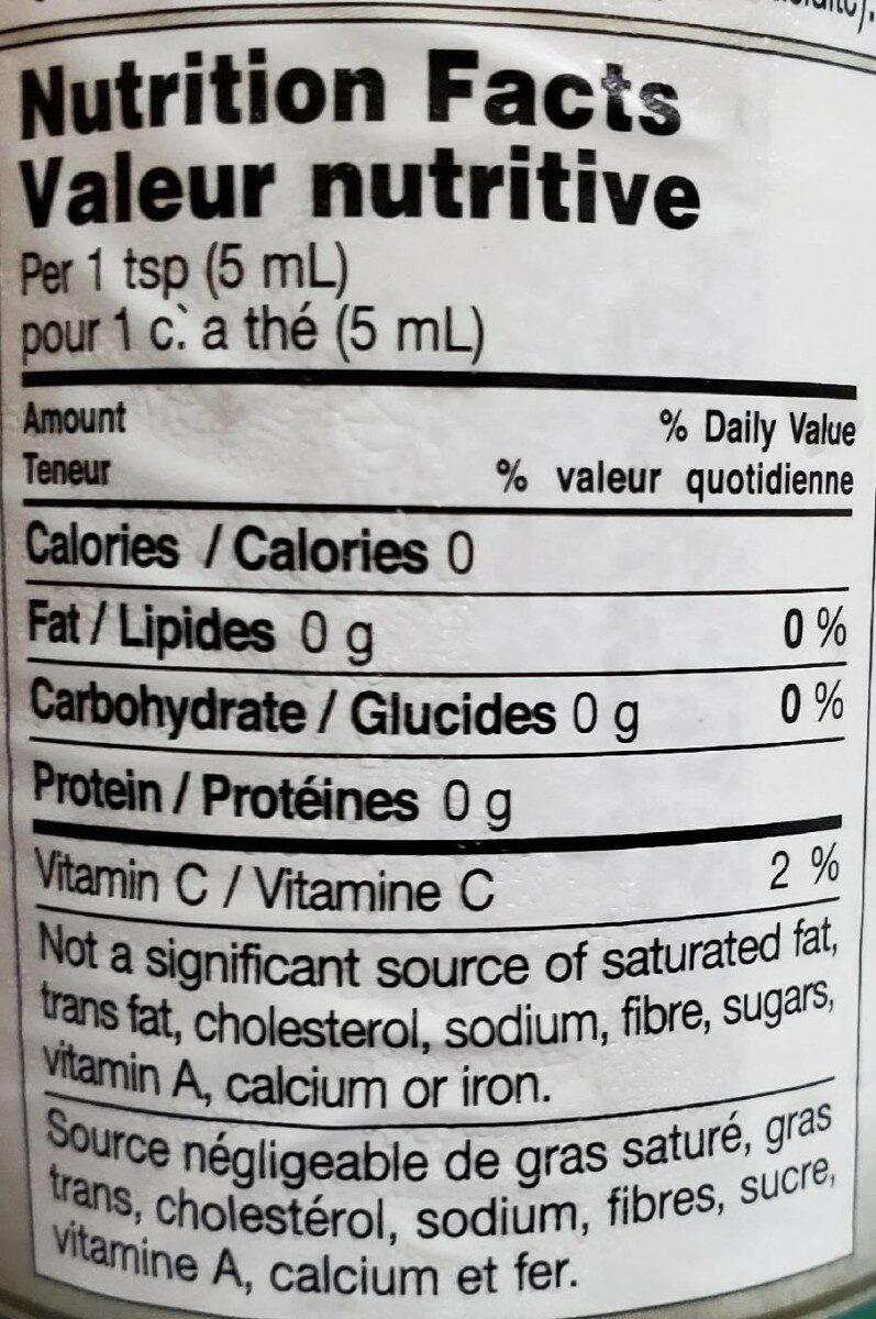 Organic Pure Lemon Juice - Nutrition facts - fr