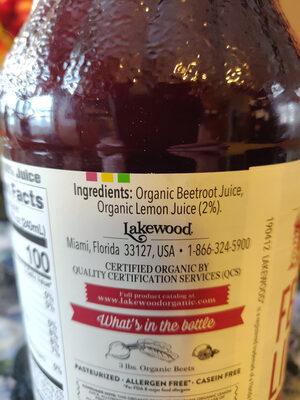 Pure beet with organic lemon juice fresh pressed juice - Ingredients - en