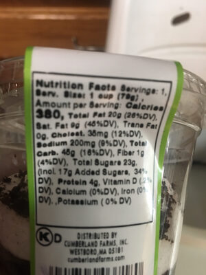 Cake N'Cup cookies and cream - Nutrition facts