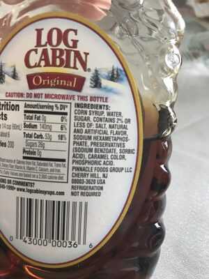 Log Cabin Syrup Original - Ingredients - fr