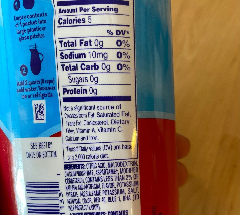 Sugar free fruit punch powdered drink mix caffeine free - Nutrition facts - en