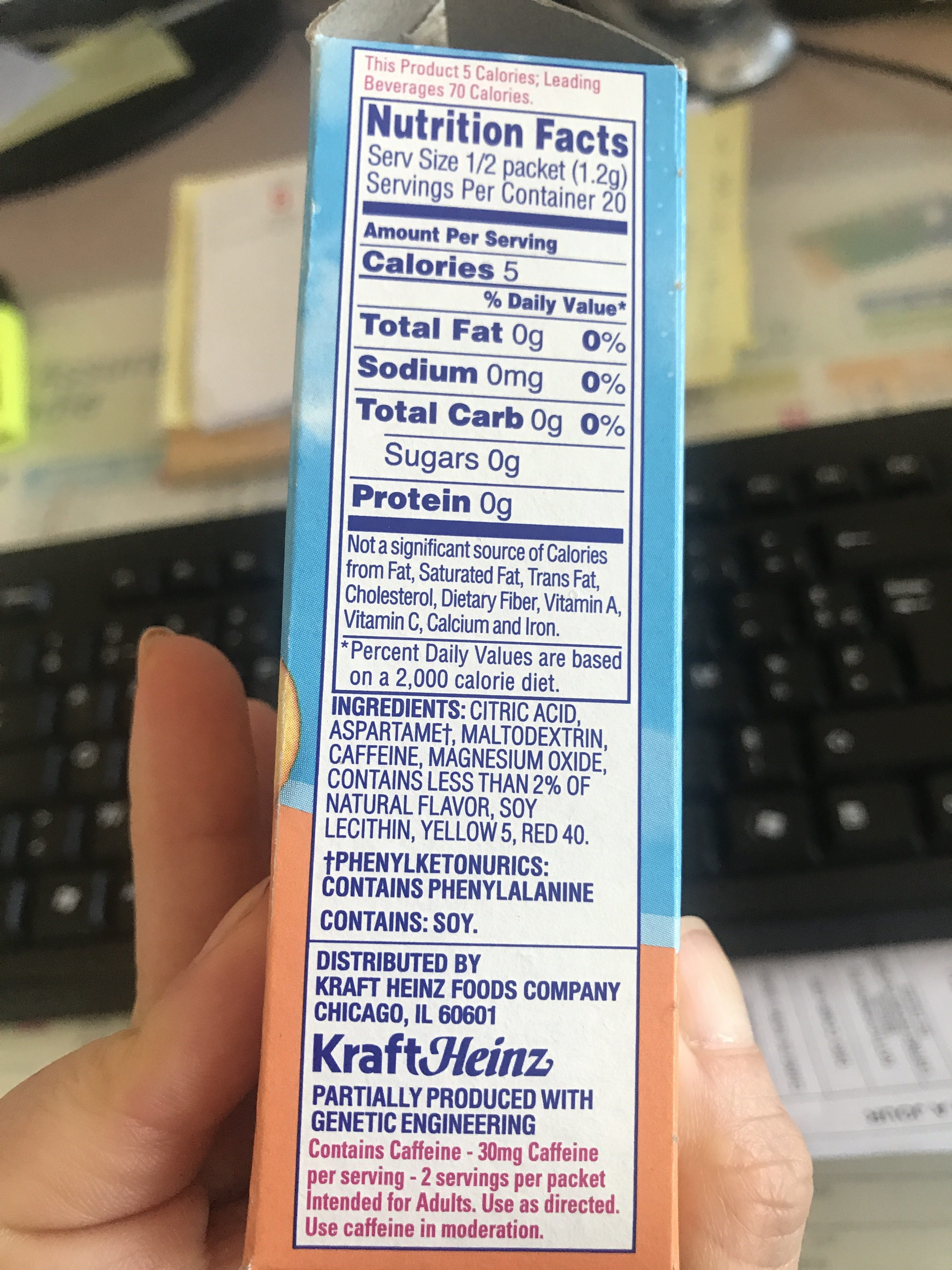 Crystal Light With Caffeine Drink Mix Peach Mango   10 CT   Ingredients