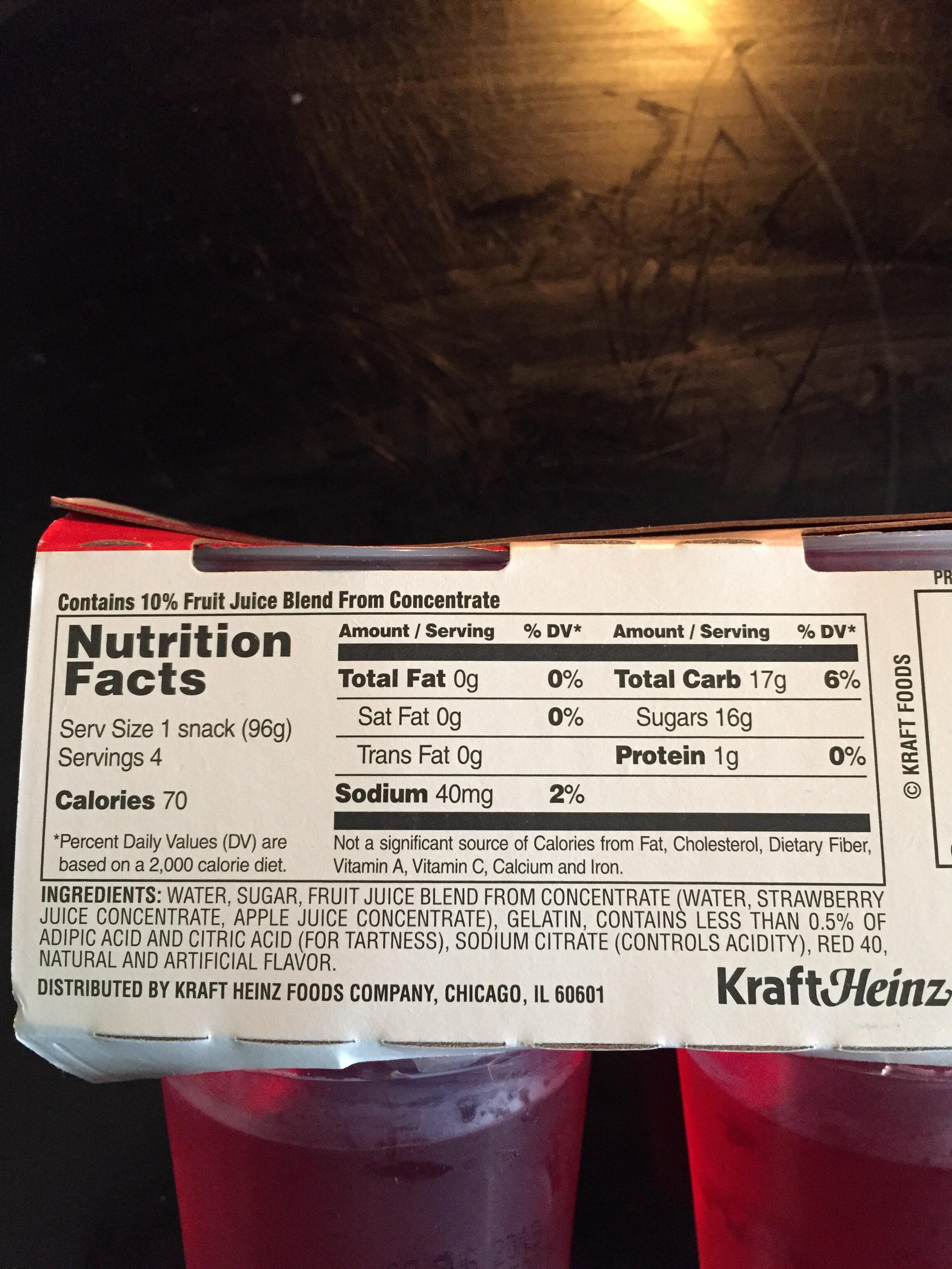 Gelatin Snacks, Strawberry - Voedingswaarden - en