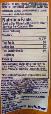 Crystal Light Tea Sticks Peach 16 Count / 32 Quarts - Informations nutritionnelles