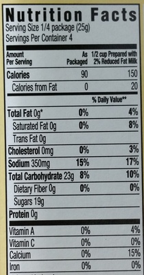 Jell-o vanille - Nutrition facts