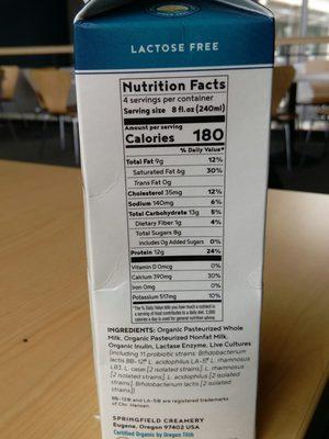 Whole Milk Kefir (Organic) - Nutrition facts