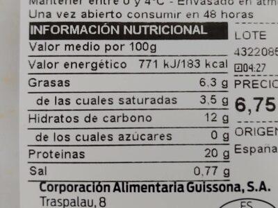 Libritos de lomo empanados rellenos de queso - Informació nutricional - es