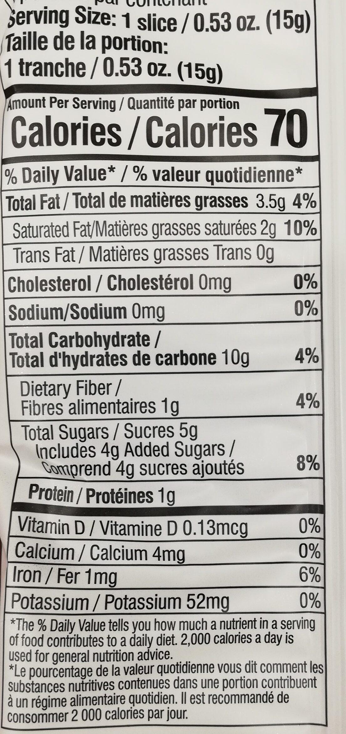 Galettes riz au chocolat noir - Informations nutritionnelles - en
