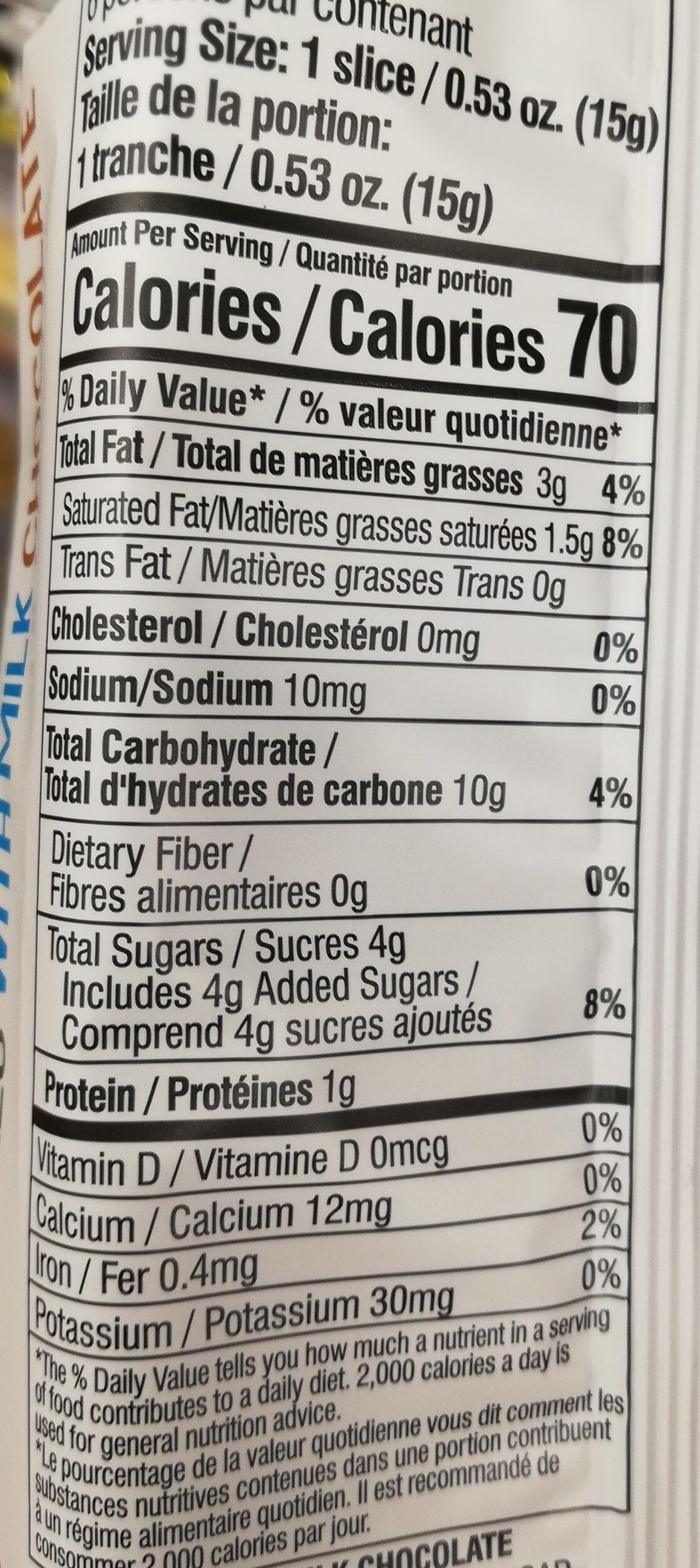 galettes de riz au chocolat au lait - Informations nutritionnelles - en