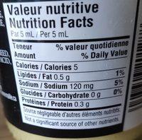 Traditional dijon mustard - Informations nutritionnelles - fr