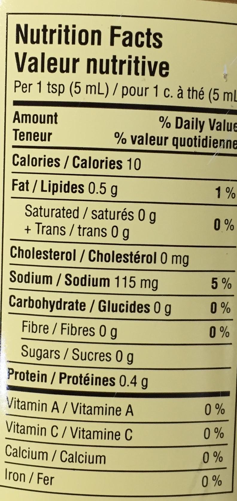 Dijon Originale - Nutrition facts - fr