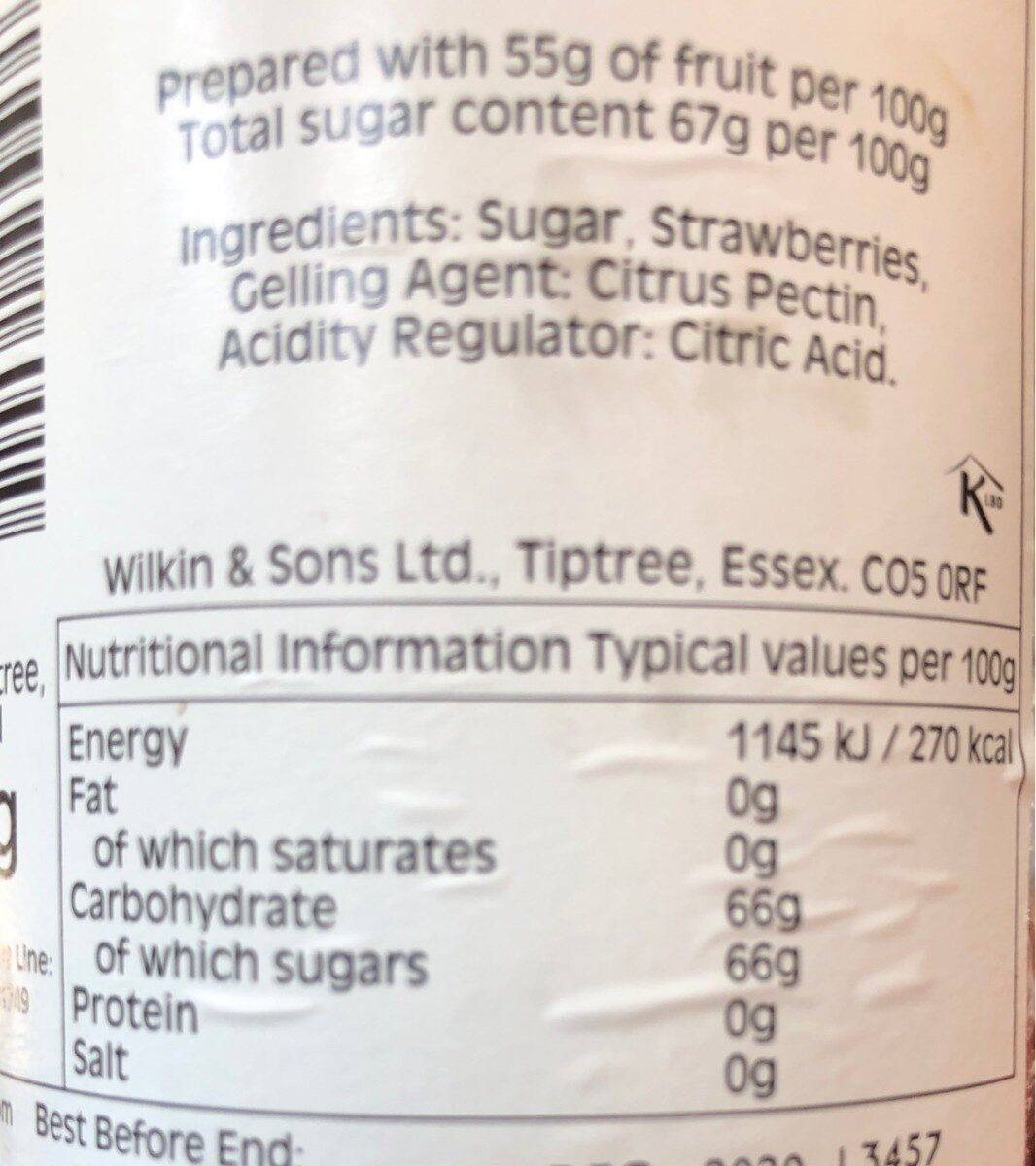 Wilkin & Sons Ltd, Extra Jam, Strawberry - Nutrition facts