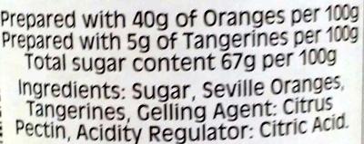 Sons Ltd Tiptree Orange & Tangerine Marmalade Fine Cut Peel - Ingredients - en