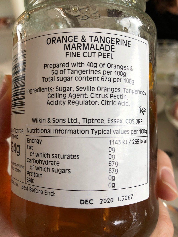 Sons Ltd Tiptree Orange & Tangerine Marmalade Fine Cut Peel - Nutrition facts - en
