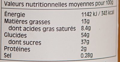 Marmelade Fruits De La Passion - Informations nutritionnelles