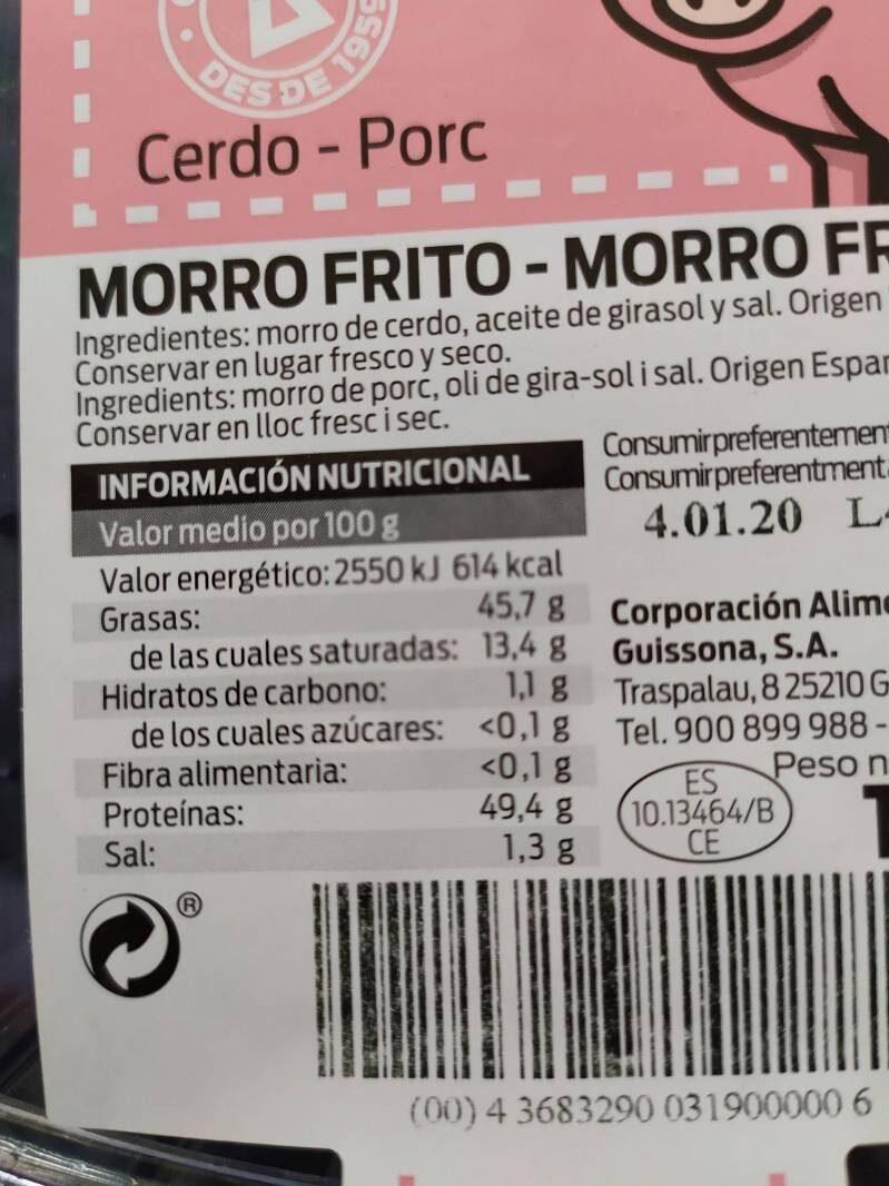 Morro frito - Informació nutricional - es