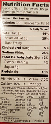 Hot Pockets - Nutrition facts