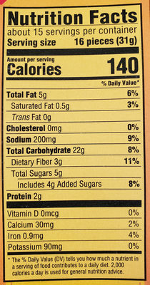 Nabisco wheat thins crackers 1x16 oz - Nutrition facts - en