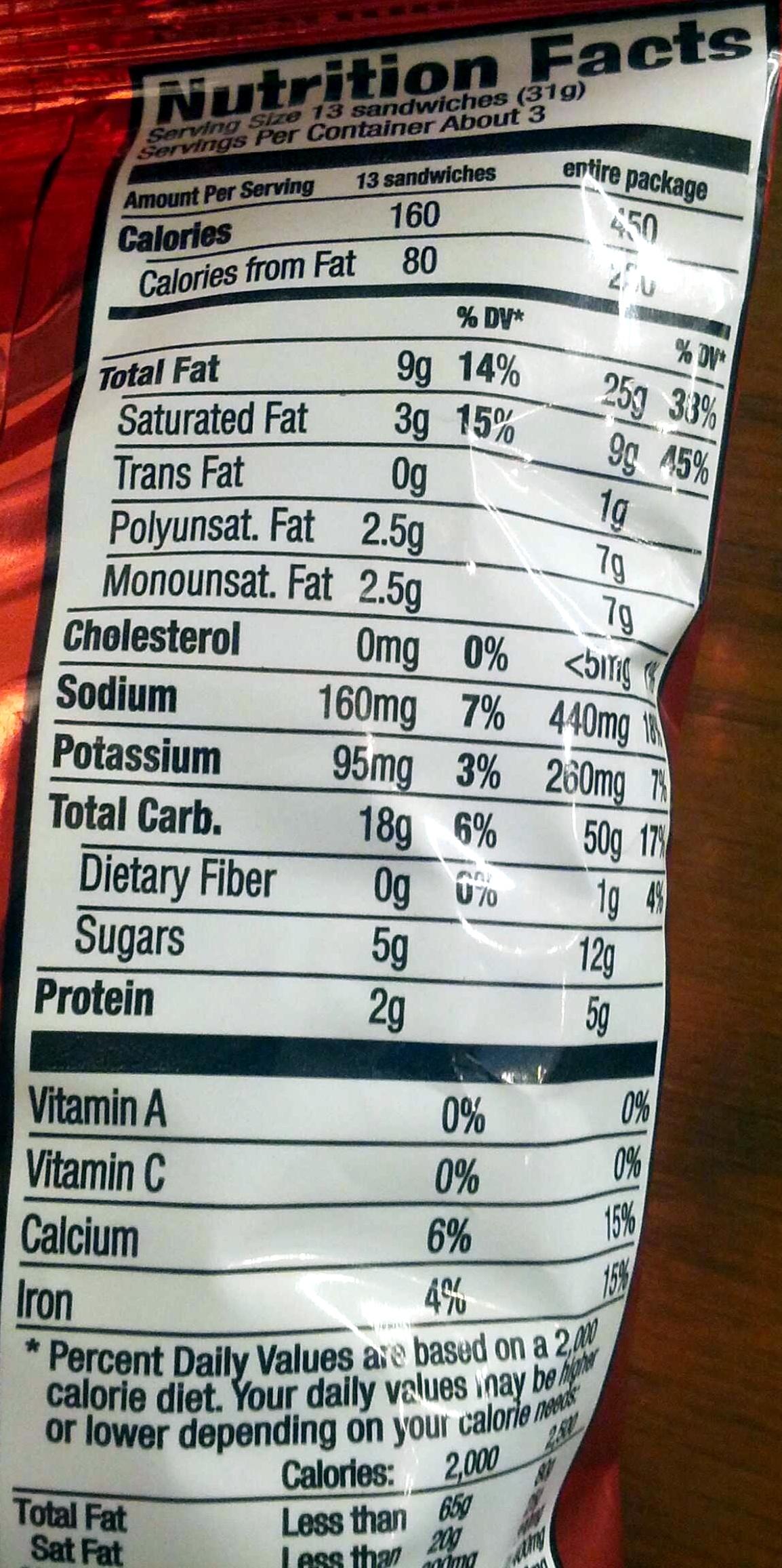 Ritz Bits Cheese - Voedingswaarden - en
