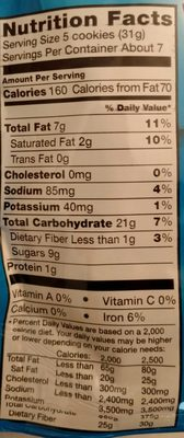 Nabisco chips ahoy! lunchbox cookies snak saks mini 1x8 oz - Nutrition facts - en