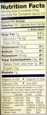 Nabisco oreo cookies-convenience pack chocolate 1x5.2 oz - Nutrition facts - en