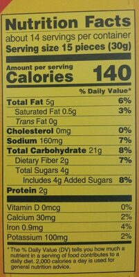 Nabisco wheat thins crackers sun dried tomato & basil 1x15 oz - Nutrition facts