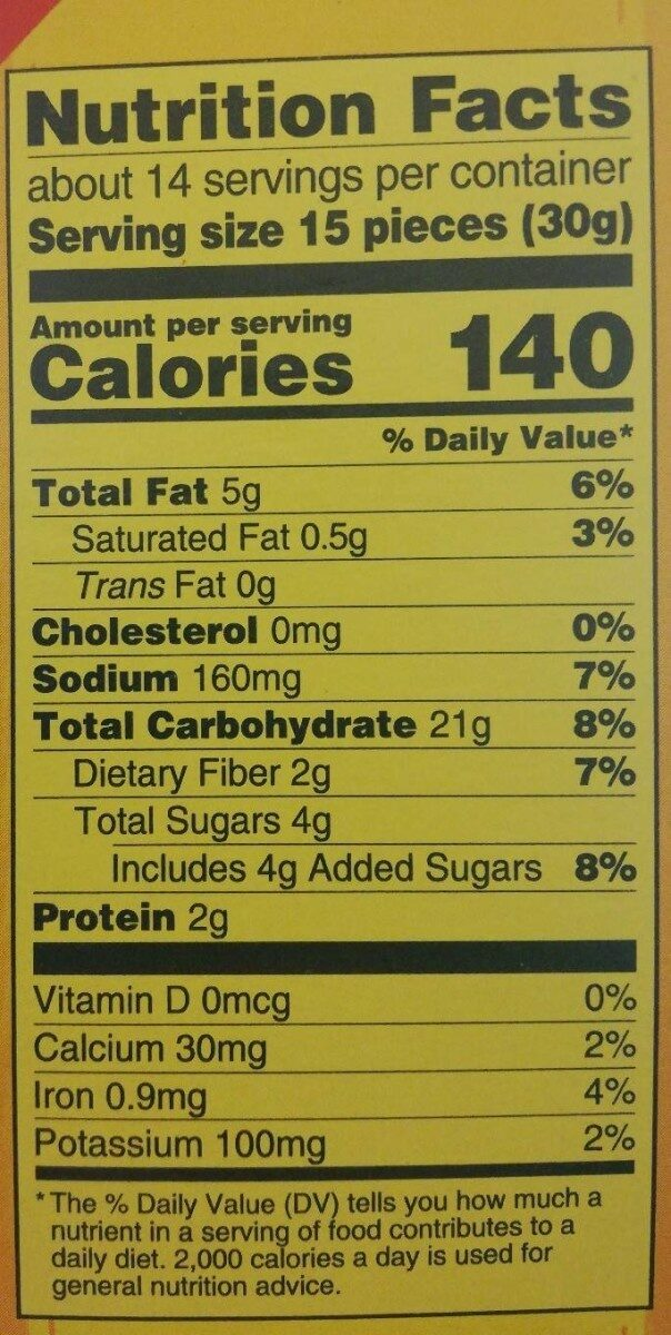 Nabisco wheat thins crackers sun dried tomato & basil 1x15 oz - Nutrition facts - en