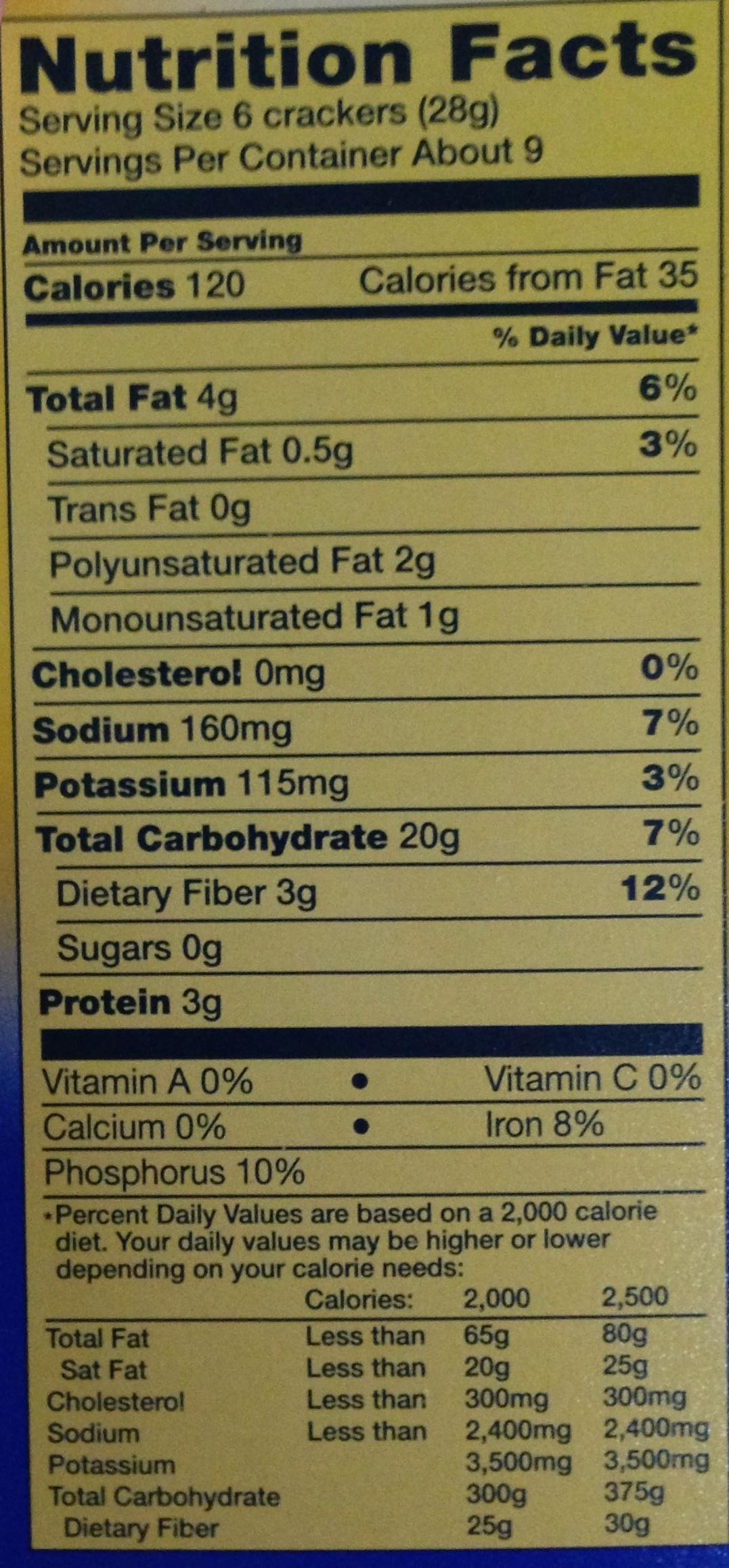 Triscuit Original Crackers - Nutrition facts