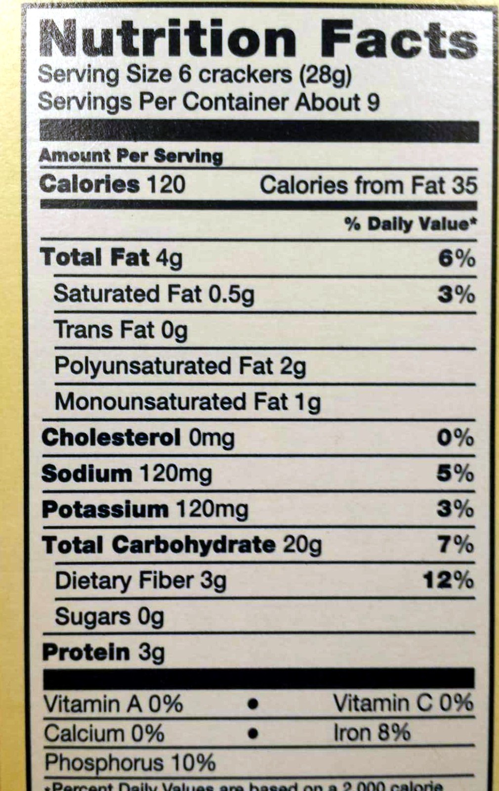 Triscuit garden herb crackers - Nutrition facts