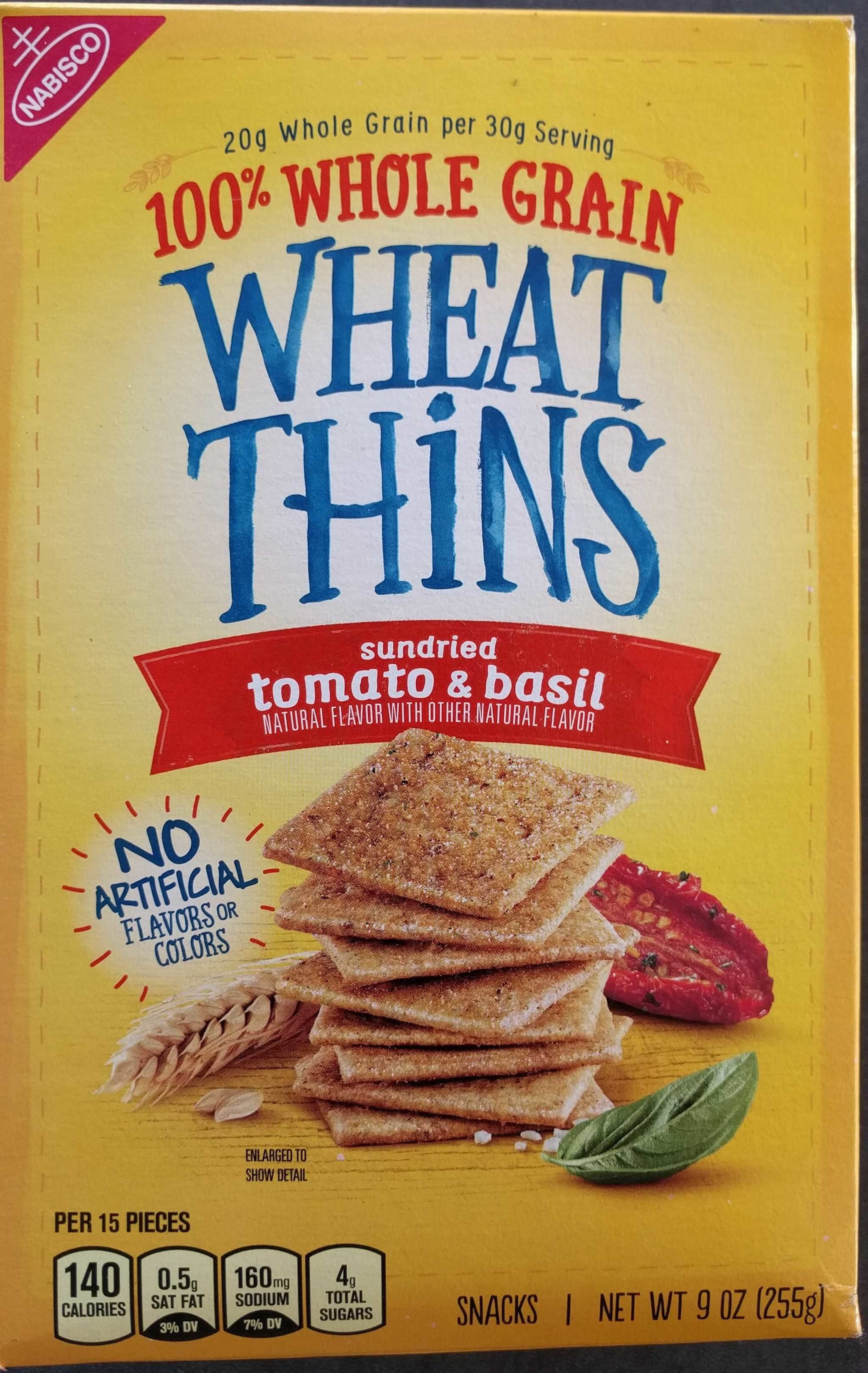 Nabisco wheat thins crackers sun dried tomato & basil 1x9 oz - Produit - en