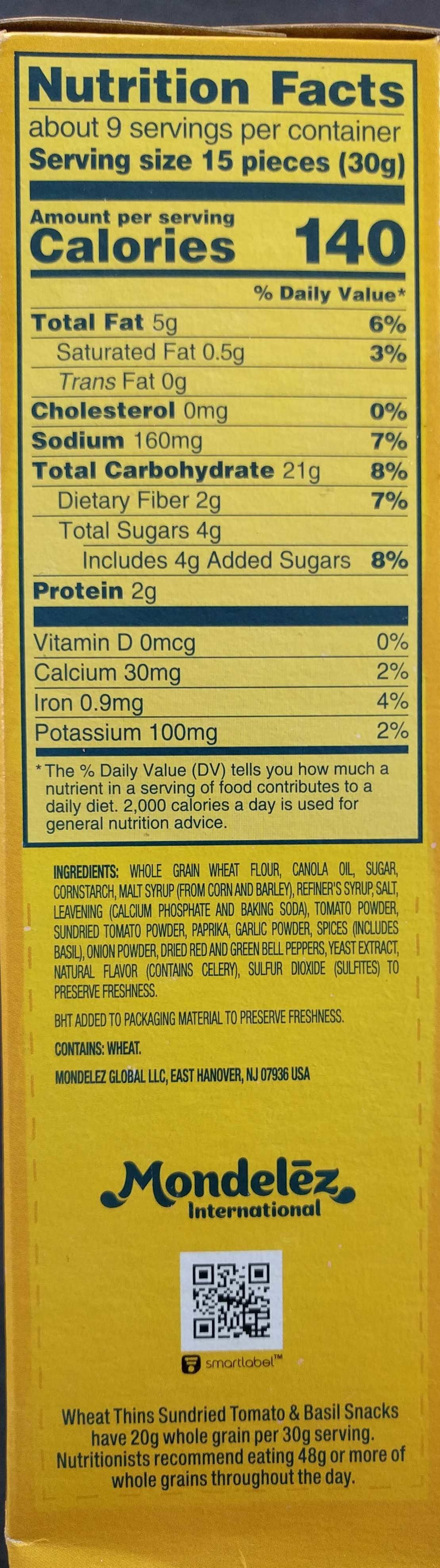 Nabisco wheat thins crackers sun dried tomato & basil 1x9 oz - Informations nutritionnelles - en