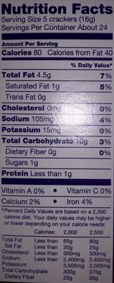 Ritz Crackers Original - Nutrition facts