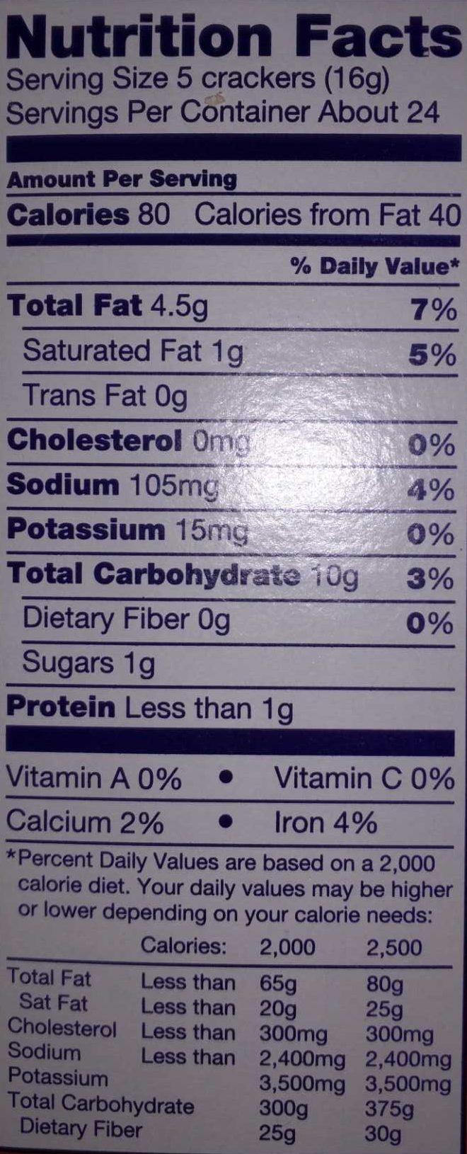 Ritz Crackers Original - Nutrition facts