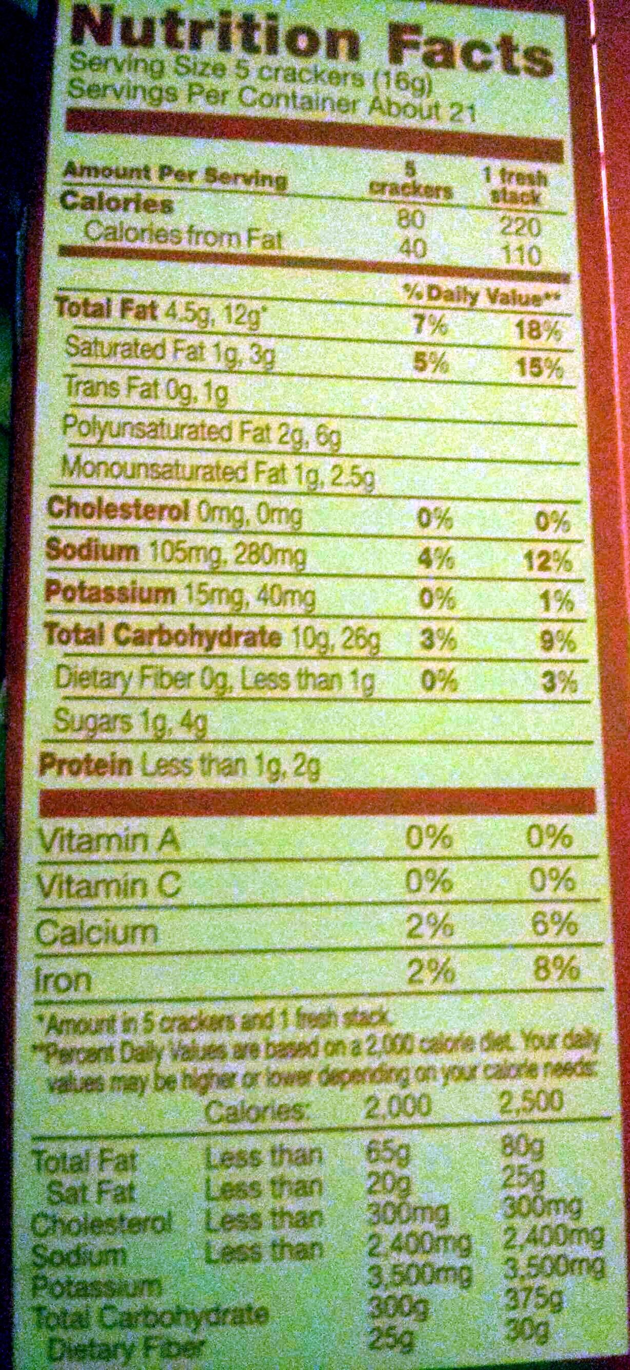 Nabisco ritz crackers fresh stacks 1x11.8 oz - Nutrition facts - en