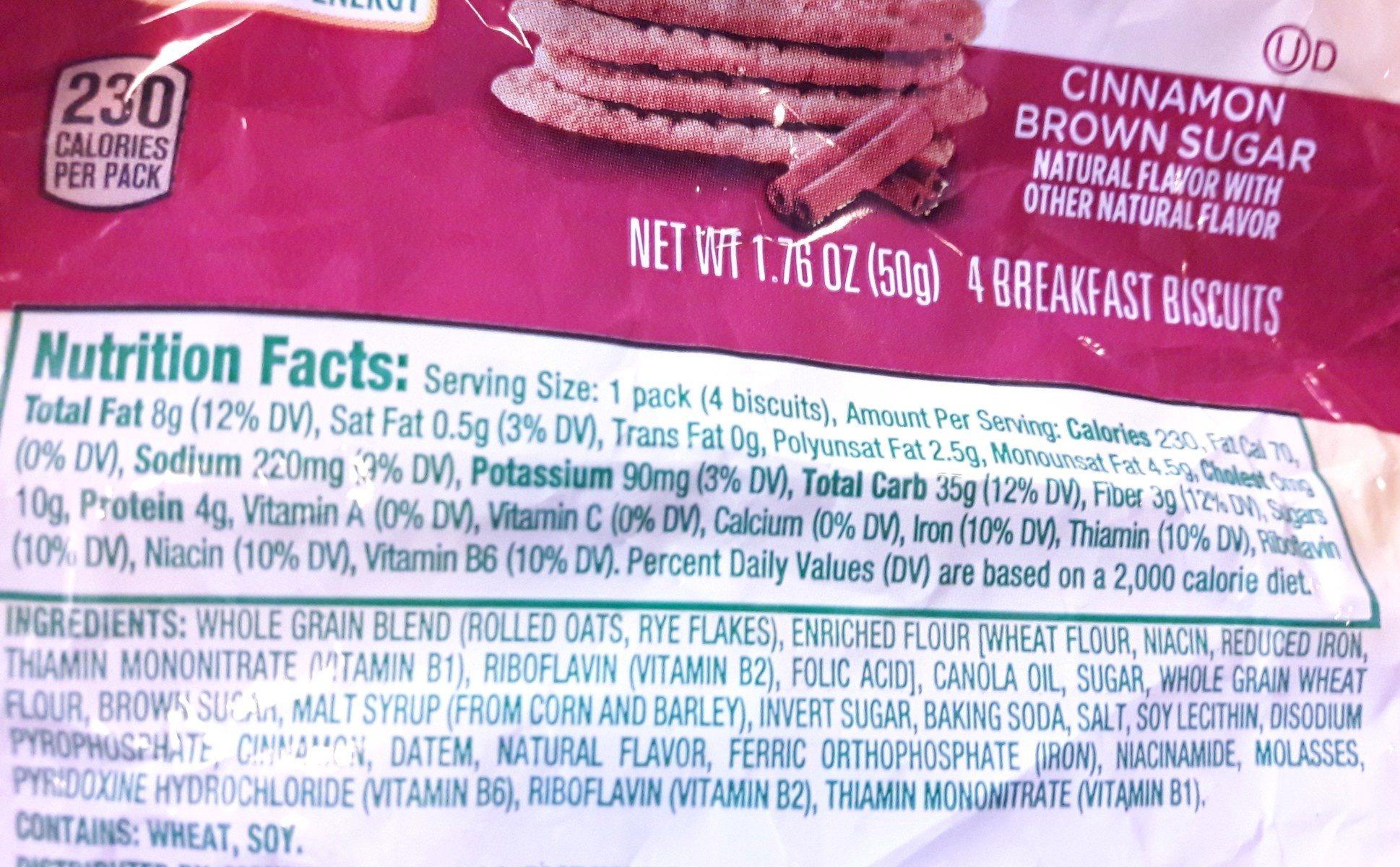 Nabisco belvita cookies cinnamon brown sugar 1x1.76 oz - Ingrédients - fr