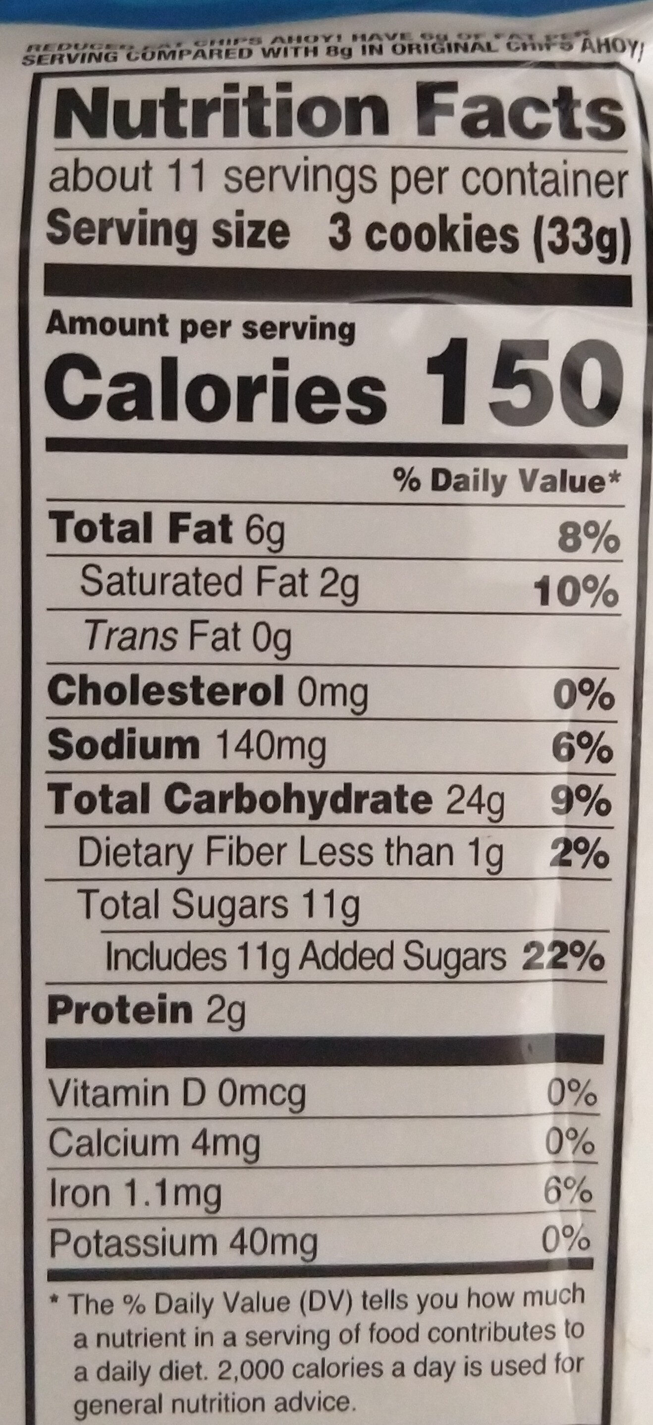 Nabisco chips ahoy! cookies reduced fat12x13 oz - Nutrition facts - en