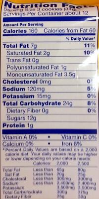 Nabisco oreo cookies golden 1x14.3 oz - Informations nutritionnelles - en