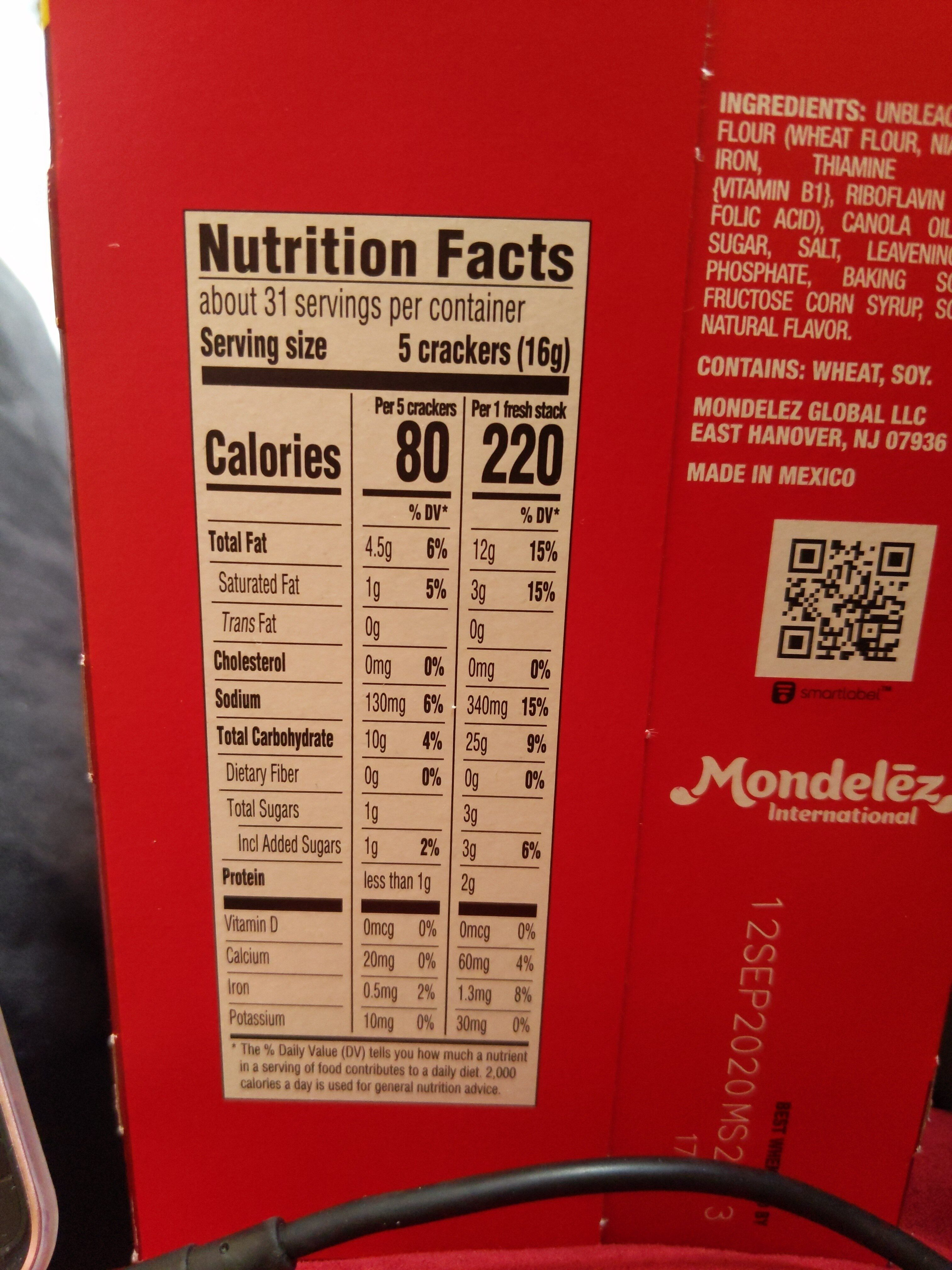 Ritz crackers family size fresh stacks 1x17.8 oz - Nutrition facts - en