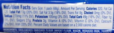NABISCO OREO COOKIES-SINGLE SERVE CHOCOLATE 1X2.400 OZ - Nutrition facts