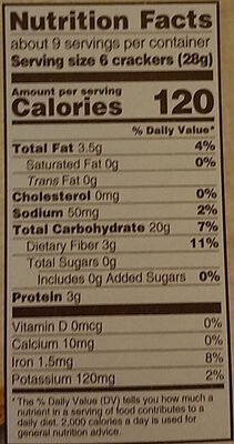 Triscuit crackers hint of salt 1x8.5 oz - Nutrition facts