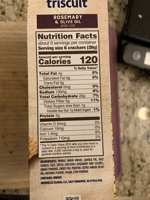 Triscuit crackers rosemary and olive oil 1x8.5 oz - Nutrition facts - en