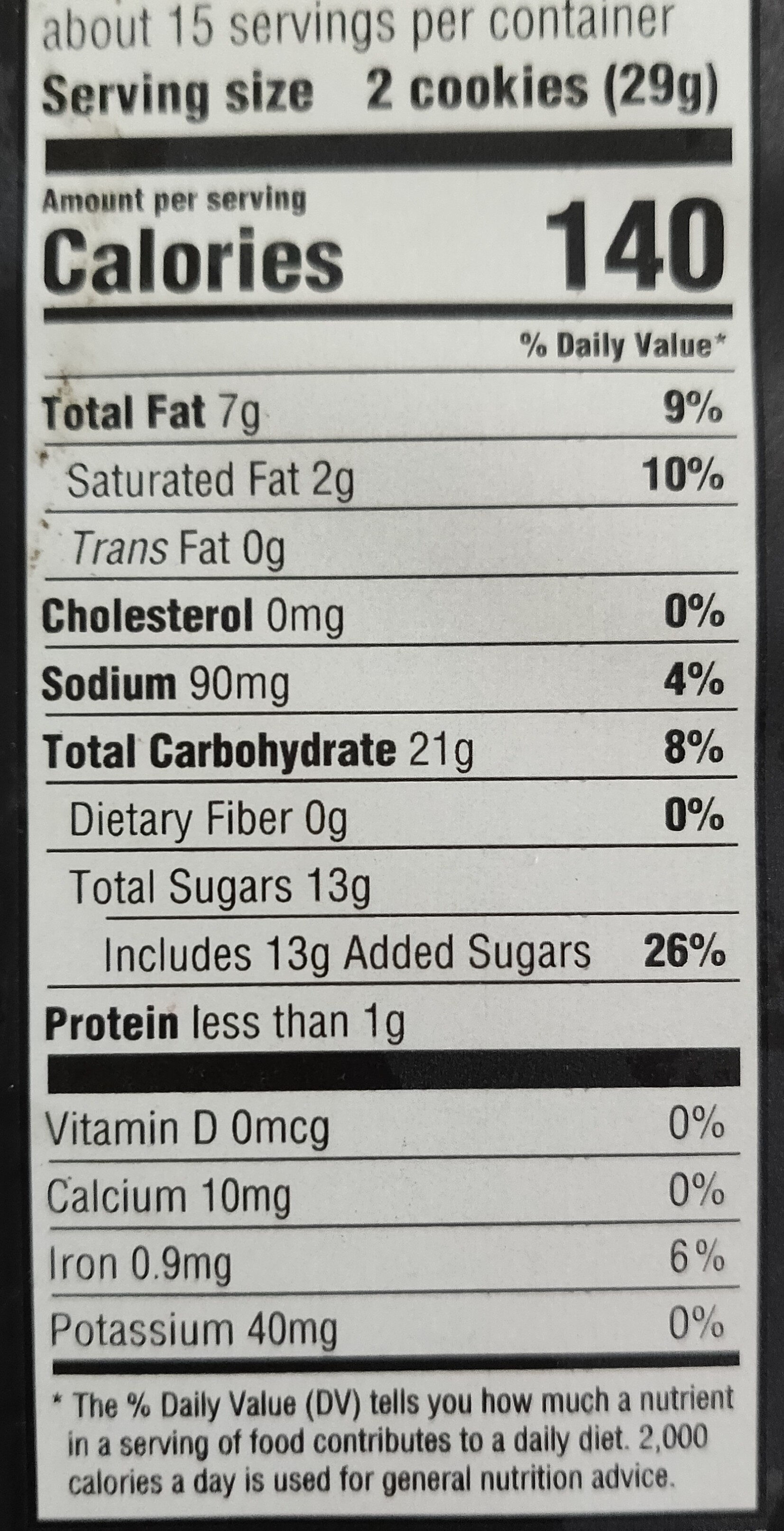Chocolate sandwich cookies, chocolate - Nutrition facts - en