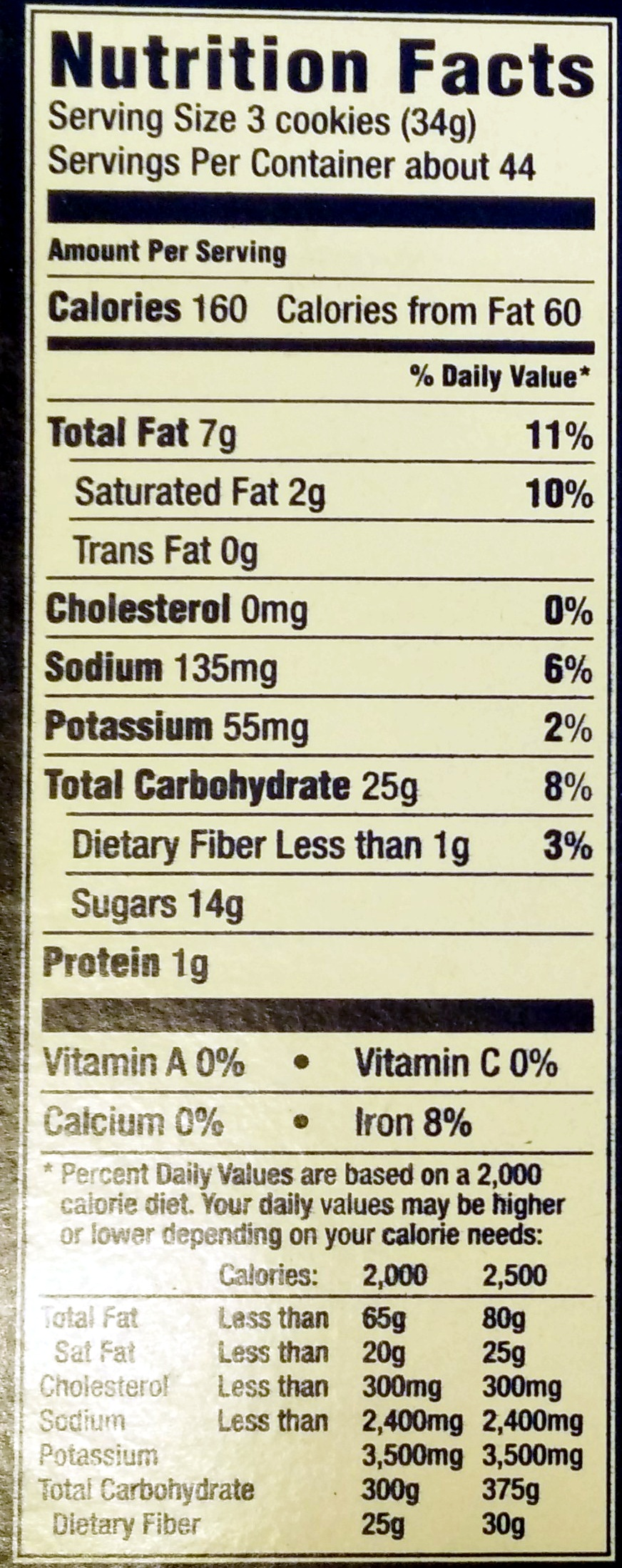 Nabisco oreo cookies 1x52.5 oz - Nutrition facts - en