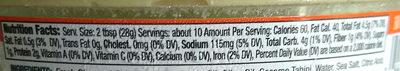 original hommus - Nutrition facts