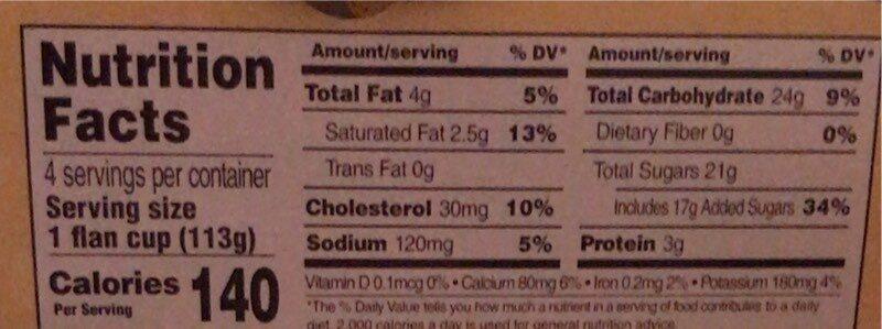 Caramel Flan - Nutrition facts - en