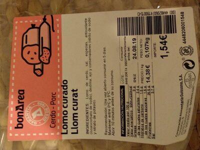 Lomo de cerdo curado - Producte