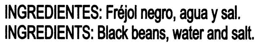 Frejol negro - Ingredientes