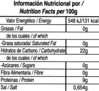 Frejol negro - Voedingswaarden
